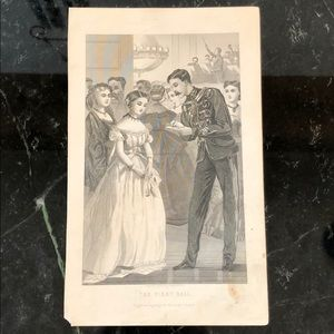 """The First Ball 9"""" x 5.5"""" Antique Engraving/Print"""